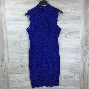 Bandot Blue Lace Midi Sleeveless Dress